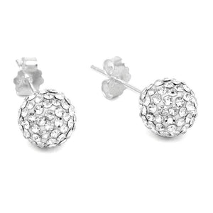 Solid 925 Sterling Silver Shamballa Ball Studs Clear - Brilliant Co
