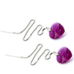 Solid 925 Sterling Silver Fuchsia Threaders Embellished with Swarovski crystals - Brilliant Co