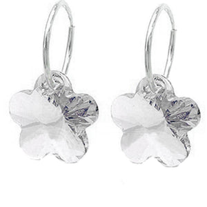 Solid 925 Sterling Silver Clear Sleepers Embellished with Swarovski crystals - Brilliant Co