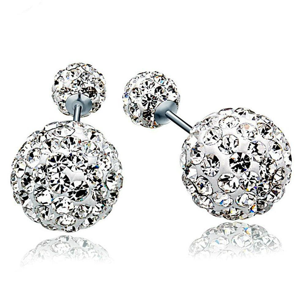 Solid 925 Sterling Silver Silver Sparkle By Duo Earrings - Brilliant Co