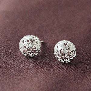Solid 925 Sterling Silver Filigree Emboss Silver Earrings - Brilliant Co