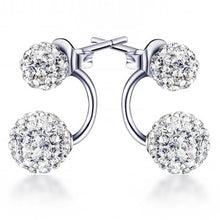 Solid 925 Sterling Silver Deuce Silver Shamballa Earrings - Brilliant Co