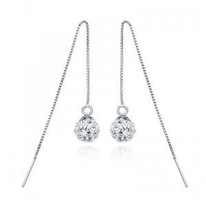 Solid 925 Sterling Silver Shamballa Threader Earrings - Brilliant Co