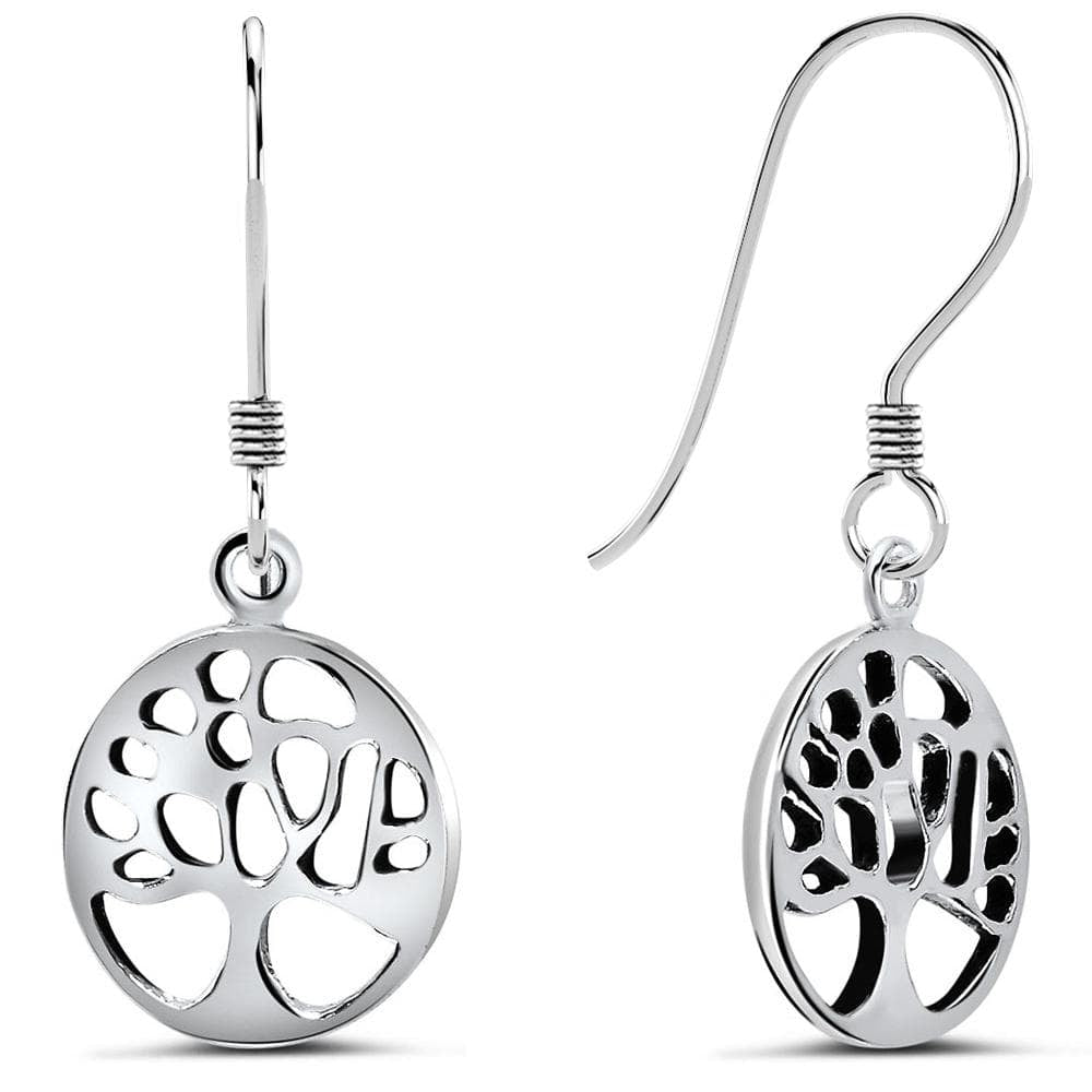 Solid 925 Sterling Silver Tree Of Life Earrings - Brilliant Co