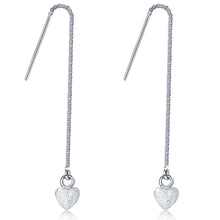 Solid 925 Sterling Silver Heart Threader Earrings - Brilliant Co