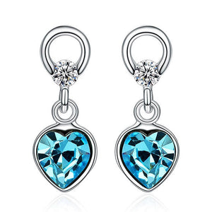 Solid 925 Sterling Silver Hearts Delight Drop Earrings - Brilliant Co