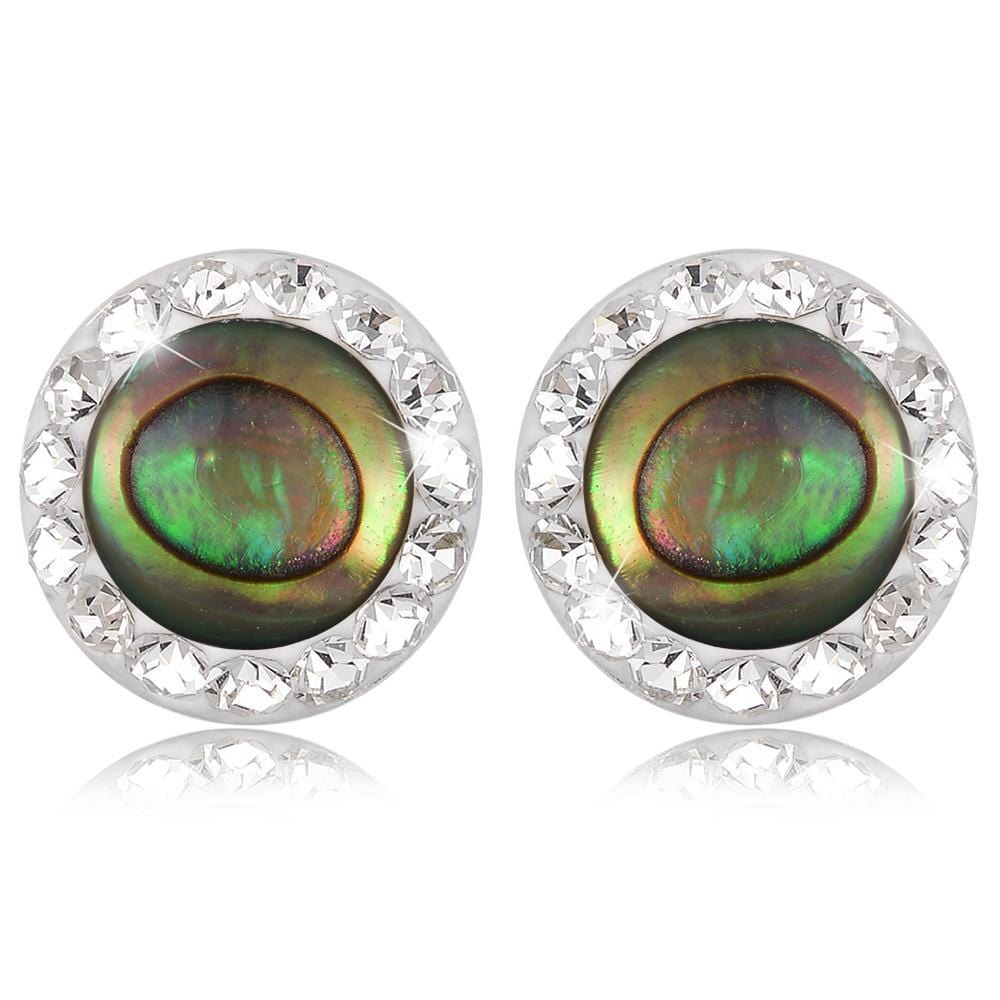 Solid 925 Sterling Silver Round Eye Stud Earrings - Brilliant Co