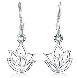 Solid 925 Sterling Silver Lotus Leaf Hook Earrings - Brilliant Co