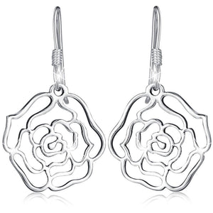 Solid 925 Sterling Silver Highly Polished Rose French Hook Earrings