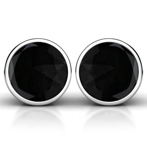 Solid 925 Sterling Silver Faceted Black Agate Earrings - Brilliant Co