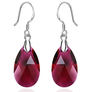 Solid 925 Sterling Silver Faceted Crystal French Hook Earrings - Brilliant Co