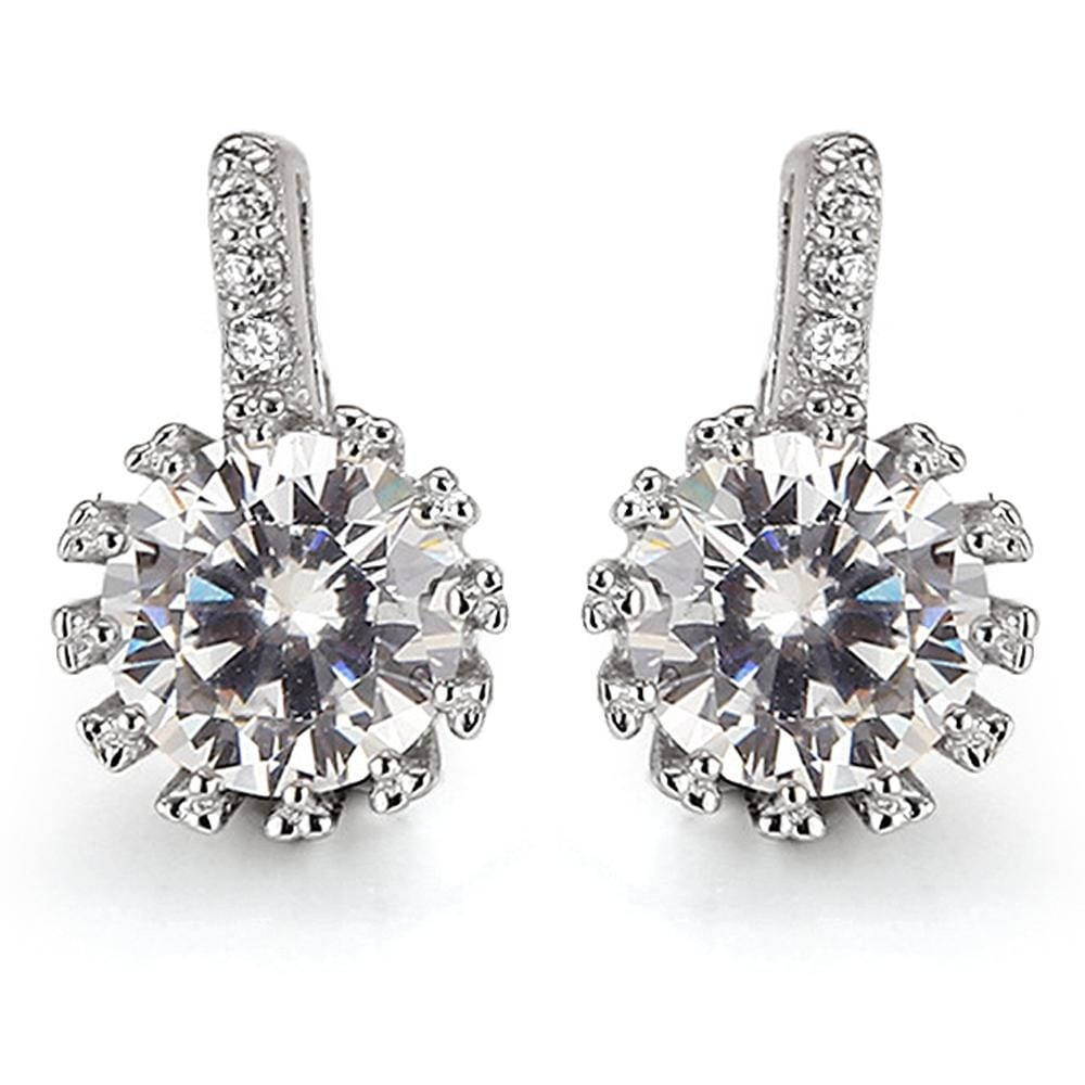 Solid 925 Sterling Silver CZ Sparkle Earrings - Brilliant Co
