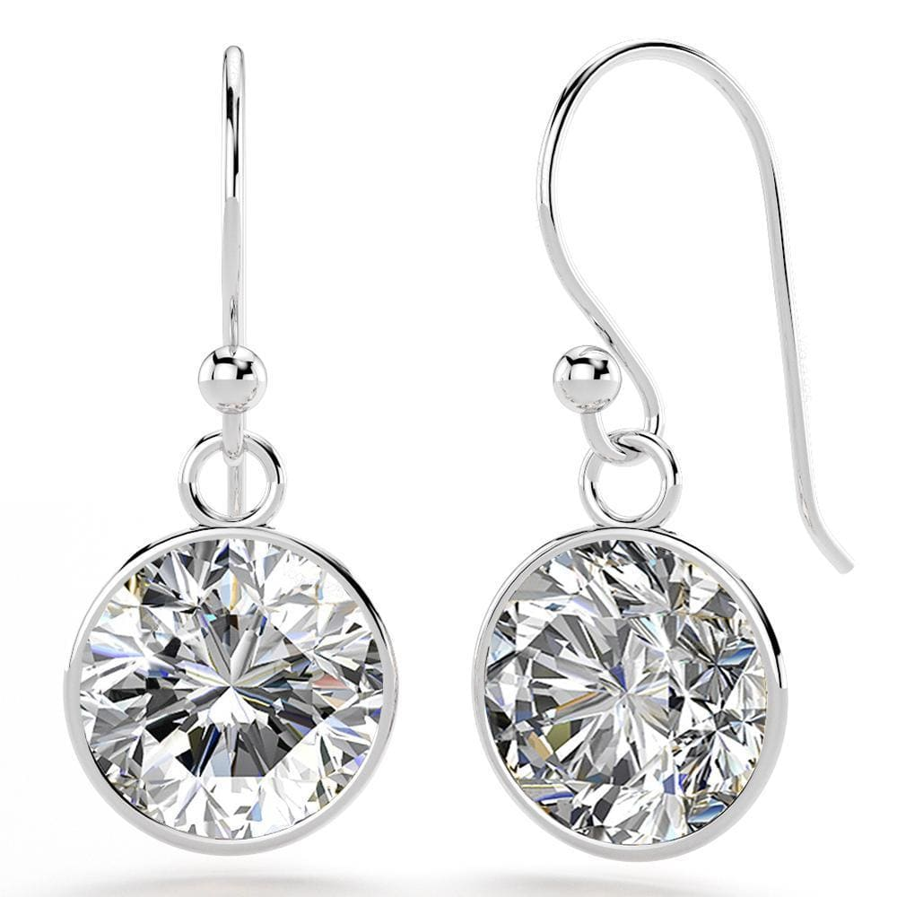 Solid 925 Sterling Silver CZ Circle Drop Earrings - Brilliant Co