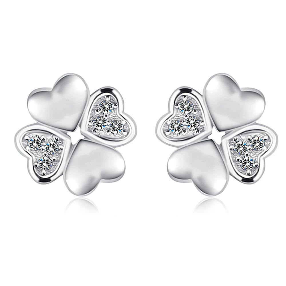 Solid 925 Sterling Silver Heart Petals Studs Earrings - Brilliant Co