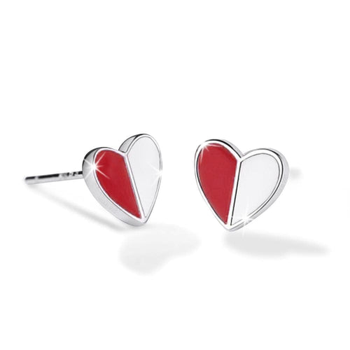 Solid 925 Sterling Silver Harmonious Red Love Earrings