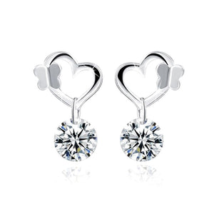 Solid 925 Sterling Silver Butterfly in Love Earrings