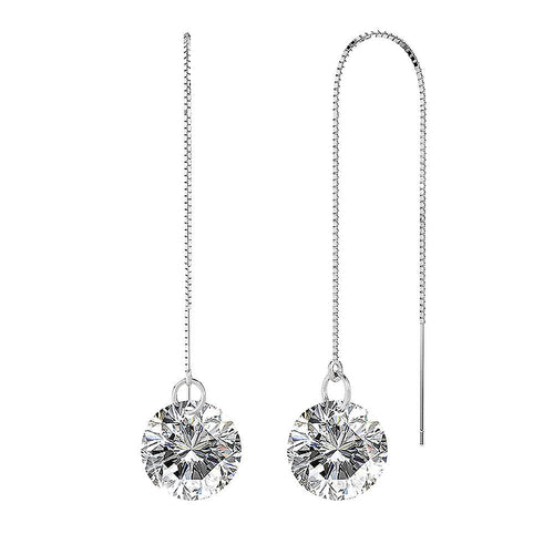 Sterling Silver Clear Drop Threader Earrings