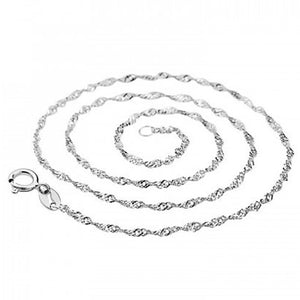 Solid Sterling Silver 925 Wavy Bar Chain