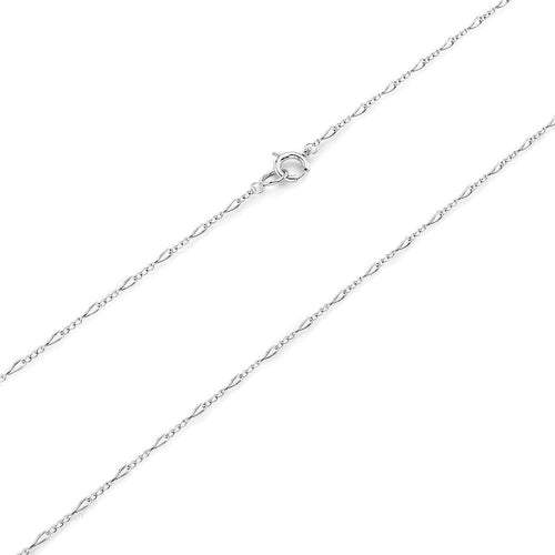 Made In Italy Solid Sterling Silver 925 Classic Figaro Link Chain Necklace