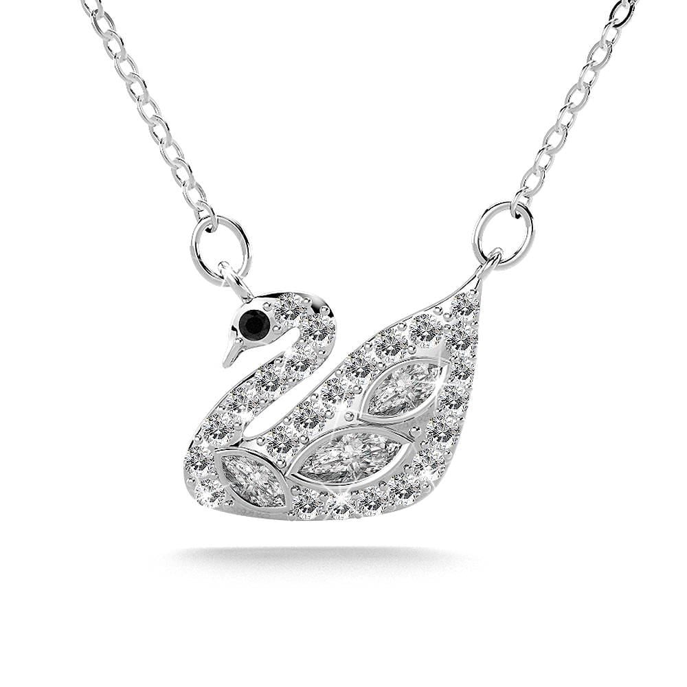 Solid 925 Sterling Silver Swans Upon Stars Necklace
