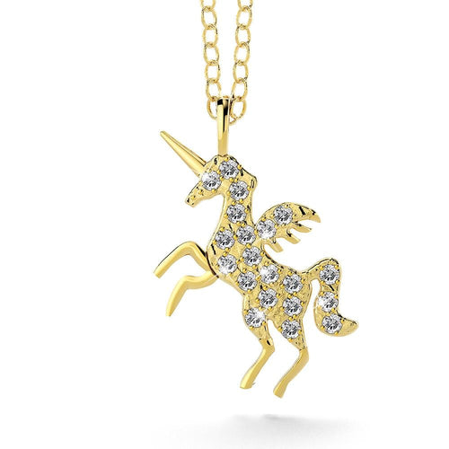 Sterling Silver 925 & Gold Simulated Diamond Unicorn Necklace