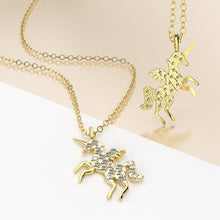Solid 925 Sterling Silver & Gold Simulated Diamond Unicorn Necklace