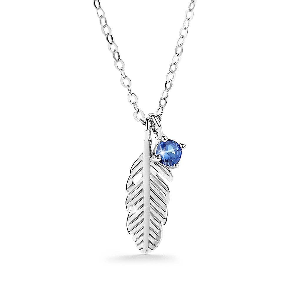 Solid 925 Sterling Silver Leaf with Sapphire Simulant Necklace