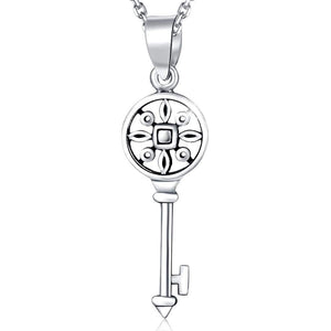 Solid 925 Sterling Silver Vintage Key Pendant - Brilliant Co