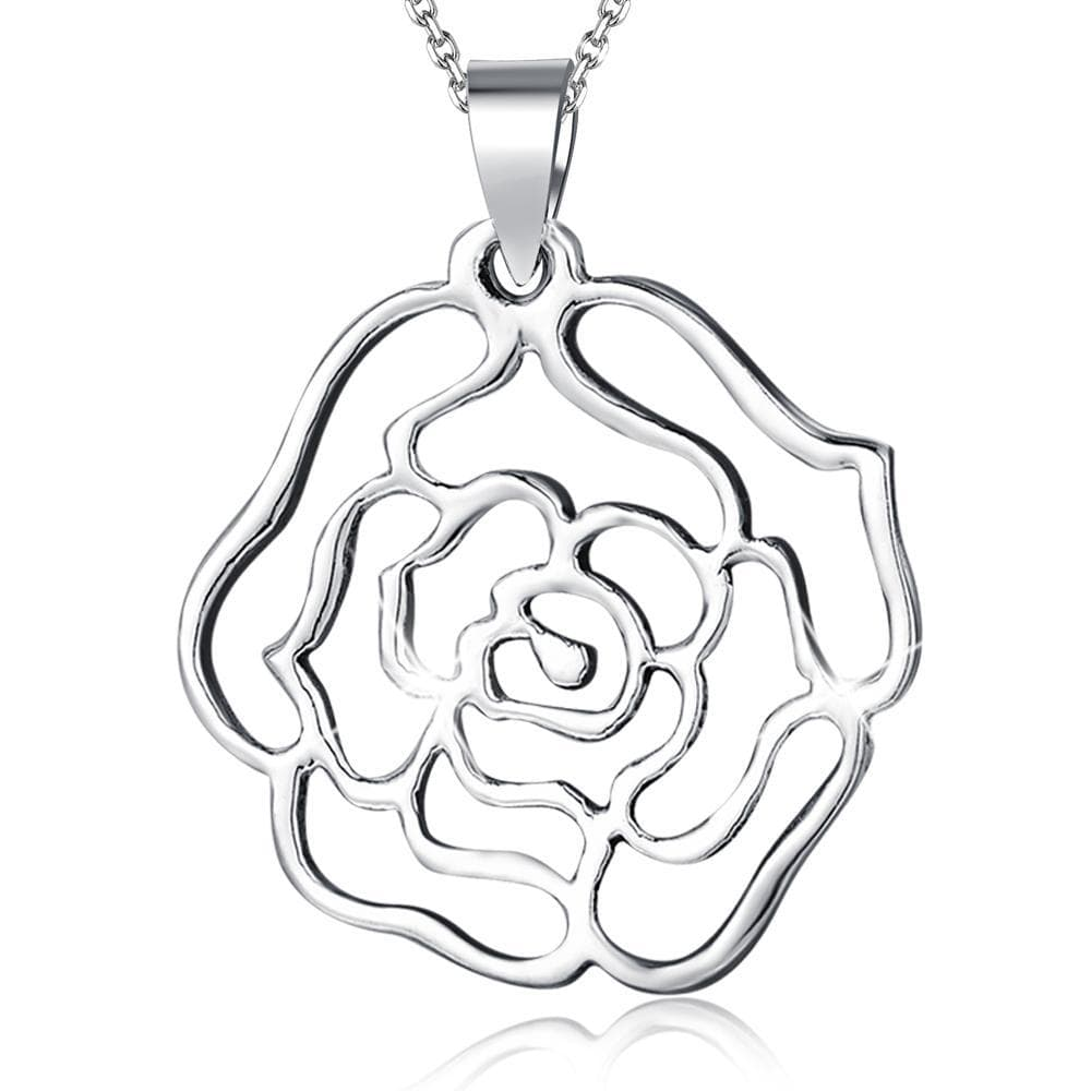 Solid 925 Sterling Silver Rose Pendant - Brilliant Co
