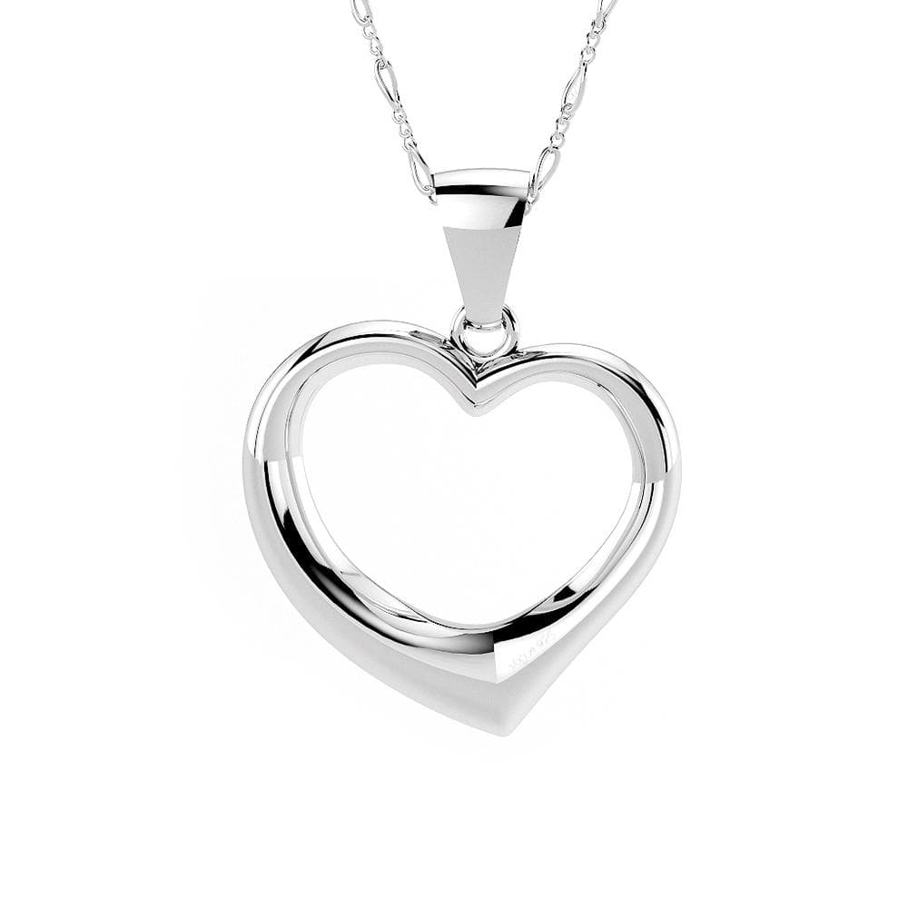 Solid 925 Sterling Silver Open Heart Pendant - Brilliant Co