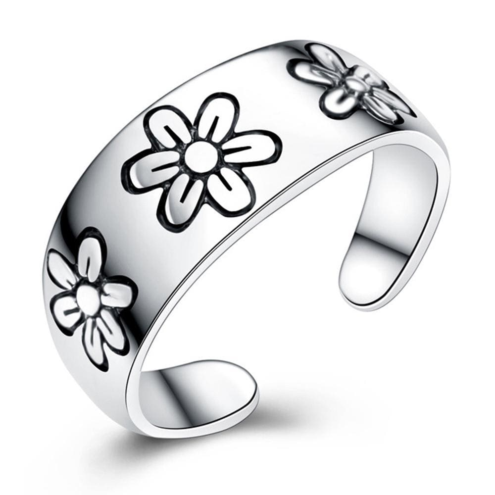 Solid 925 Sterling Silver Floral Imprinted Ring - Brilliant Co