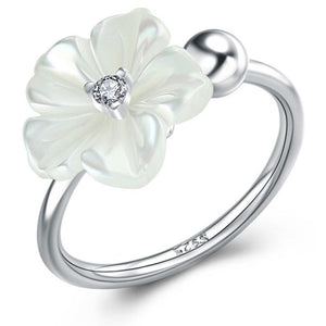 Solid 925 Sterling Silver White Flower Ring - Brilliant Co
