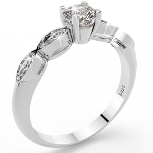 Solid 925 Sterling Silver Simulated Diamond Ring