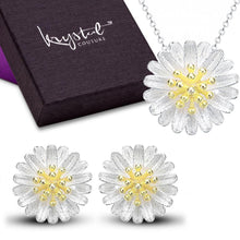Solid 925 Sterling Silver Sunflower Pendant And Earrings Set - Brilliant Co