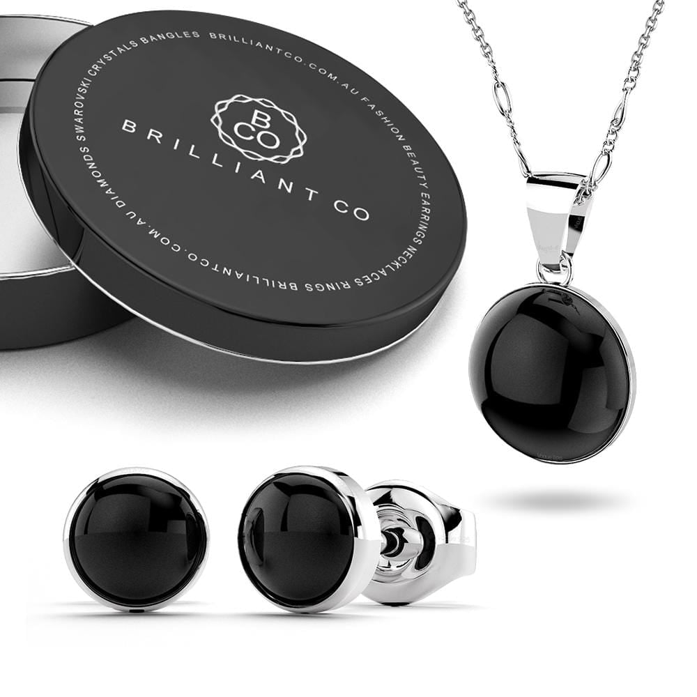Boxed Solid 925 Sterling Silver Bezel Onyx Necklace and Earrings Set - Brilliant Co