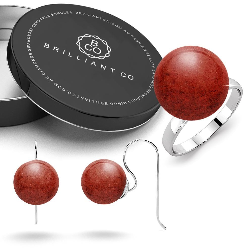 Boxed Solid 925 Sterling Silver Red Coral Ring and Earrings Set
