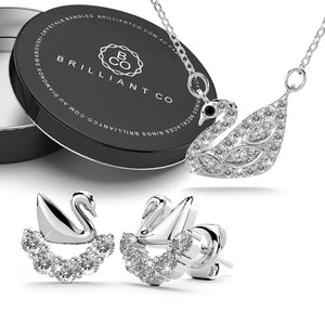 Boxed Solid 925 Sterling Silver Swans Upon Stars Necklace and Earrings Set