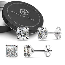 Boxed Solid 925 Sterling Silver Clear Cubic Zirconia Stud Earrings 2 Pair Set - Brilliant Co