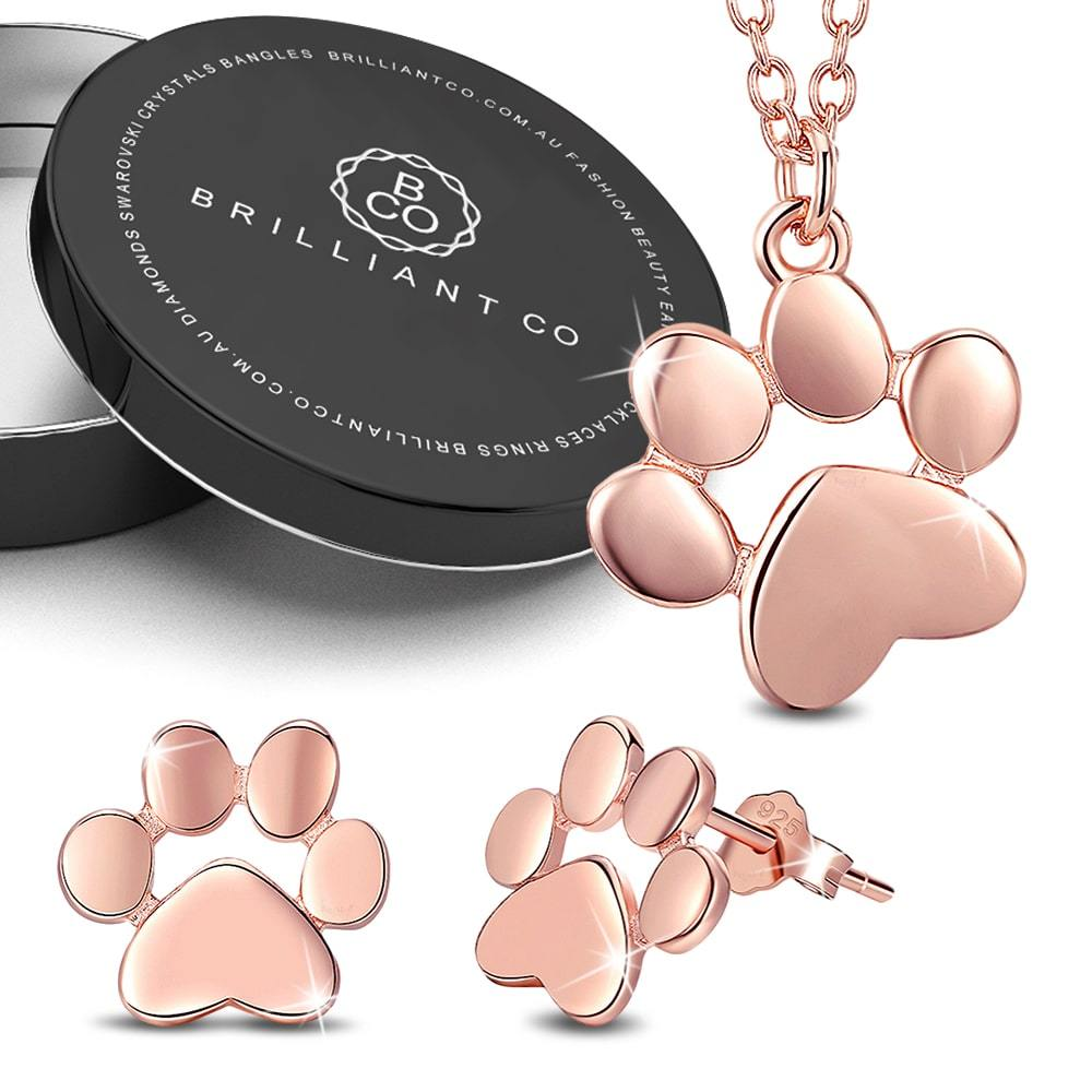 Boxed Solid 925 Sterling Silver Baby Animal Pet Paw Print Necklace and Earrings Set in Rose Gold Plated - Brilliant Co