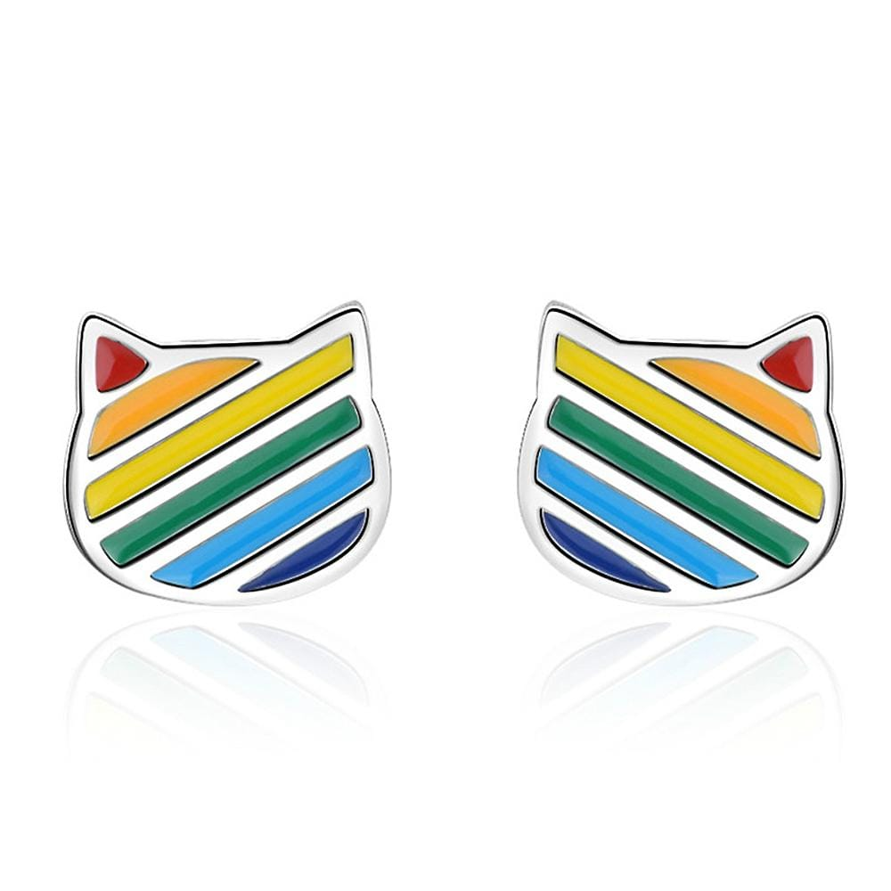 Rainbow Kitty Stud Earrings