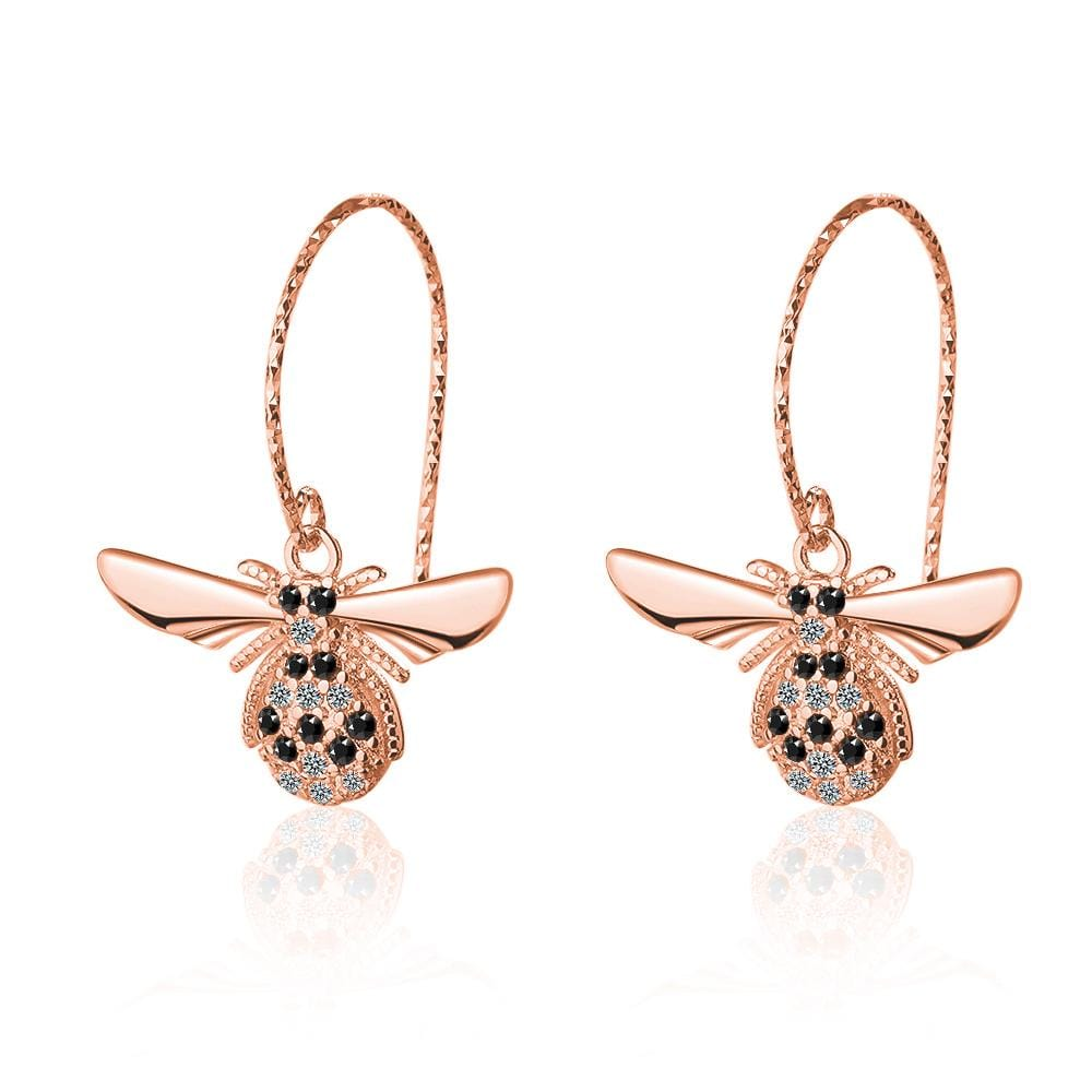 Sparkling Beez B Bug Dangle Earrings in Rose Gold - Brilliant Co