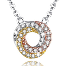 Load image into Gallery viewer, Bullion Gold Necklaces Tina Shiny Swirl Tri Tone Layered Necklace