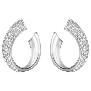 Exist Pierced Earrings, White, Rhodium plated - Brilliant Co