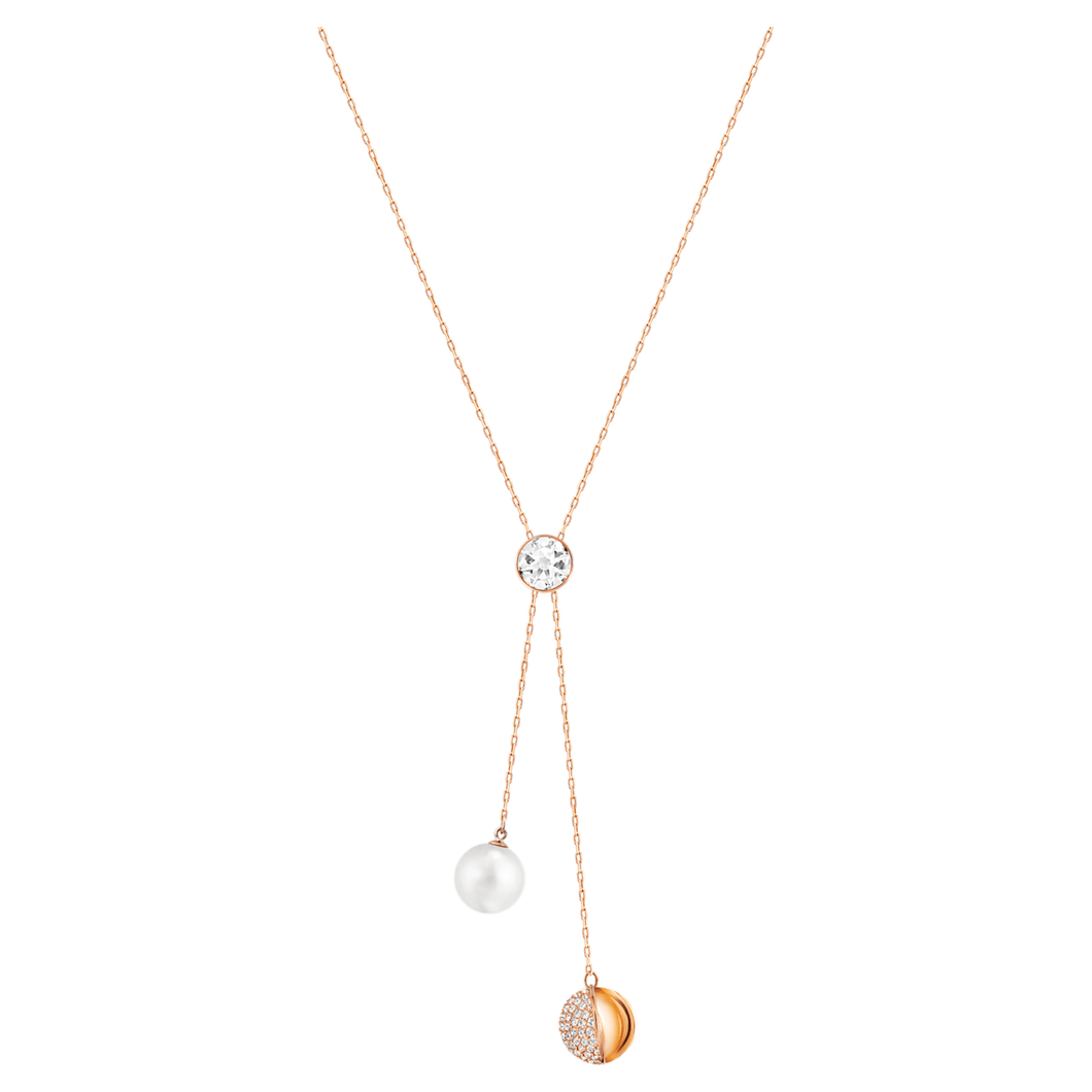 Forward Y Necklace, White, Rose-gold tone plated - Brilliant Co
