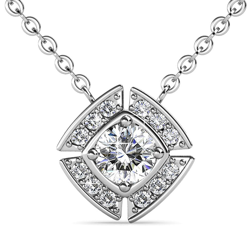 Krystal Couture Necklaces White Gold Brilliant Cut Pendant Necklace Embellished With Swarovski® Crystals