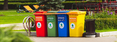 Colourful garbage bin