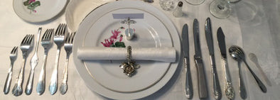 Silverware table set up