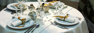 white tablecloth with cutlery retro flower