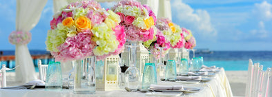 beach wedding table setup