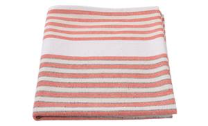 white and red stripped tea towel